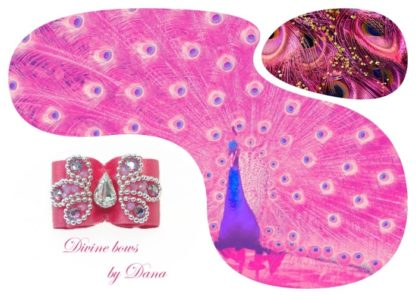 Pink Peacock bow for Maltese- inspiration collage