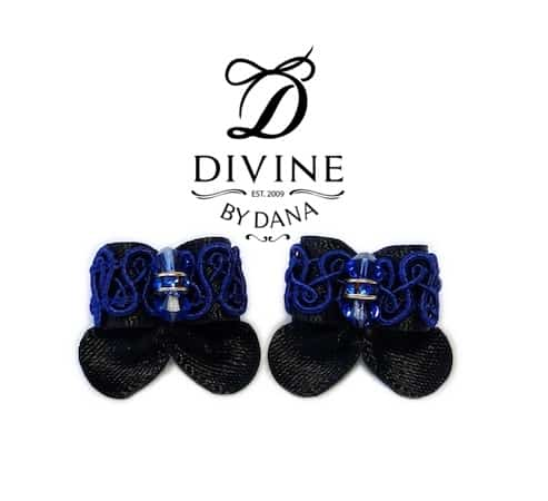 Maltese double topknot show bows Divine black
