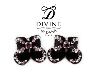 Bella - double topknot maltese show bows - black, luxury decoration