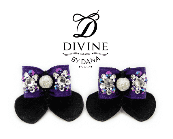 Poppy - double topknot maltese show bows - liberty purple and black
