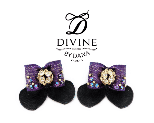 Clara - double topknot maltese show bows - liberty purple and black